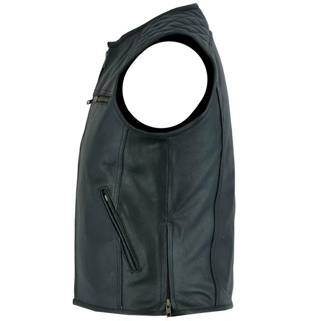 Schwarz Gr/ö/ße S einfarbig Motorradweste aus echtem Leder