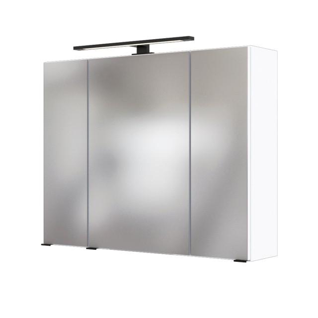 Bad-Spiegelschrank LUZERN - 3-türig, mit Beleuchtung - 80 cm breit - Weiß