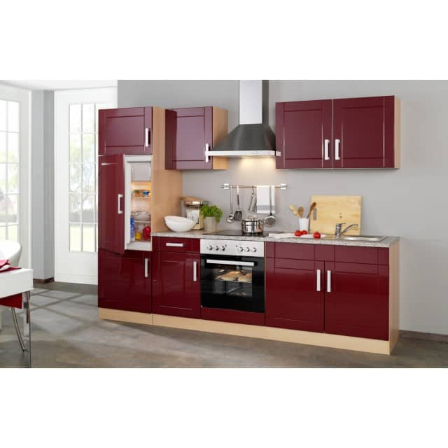 Küchenzeile VAREL - Küche mit E-Geräten - Breite 270 cm - Hochglanz  Bordeaux Rot