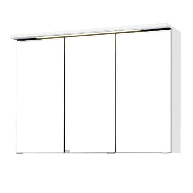 Bad Spiegelschrank Bologna 3 Turig Mit Led Lichtleiste 90 Cm Breit Weiss