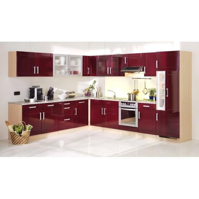 Küchen-Hochschrank VAREL - 1-türig - 50 cm breit - Hochglanz Bordeaux Rot