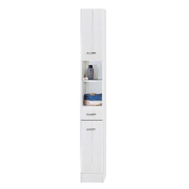 Bad-Hochschrank ARTA - 2-türig, 1 Schublade - 25 cm breit - Weiß