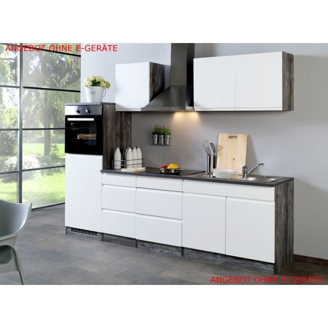 Küchenzeile CARDIFF - Küchen-Leerblock - Breite 270 cm - Hochglanz Weiß