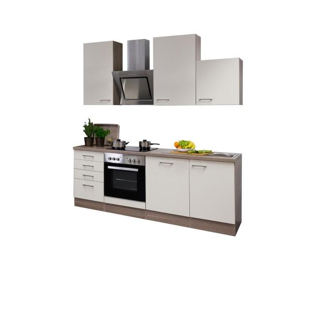 Küchenzeile EICO - Küche mit Edelstahl-Abzugshaube - Breite 220 cm - Creme
