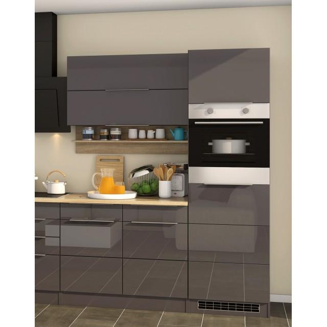Küchenzeile HAMBURG - Küche mit E-Geräten - Breite 320 cm - Hochglanz Grau  / Graphit