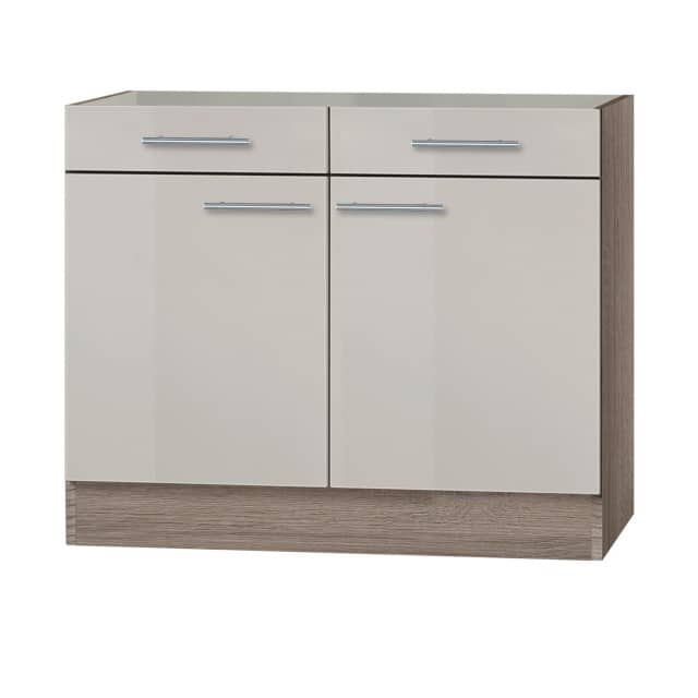 Küchen-Unterschrank GRANADA ohne Arbeitsplatte - 2-türig - 100 cm breit -  Beige