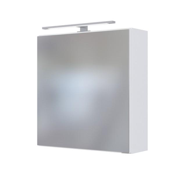 Bad-Spiegelschrank DAVOS - 1-türig, mit Beleuchtung - 60 cm breit - Weiß