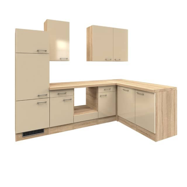 Eckküche NEPAL - L-Küche ohne E-Geräte - Breite 280 x 170 cm - Creme  glänzend