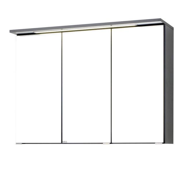Bad-Spiegelschrank BOLOGNA - 3-türig, mit LED-Lichtleiste - 90 cm breit -  Graphitgrau