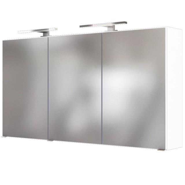 Bad-Spiegelschrank BAABE - 3-türig, mit Beleuchtung - 120 cm breit - Weiß  Matt