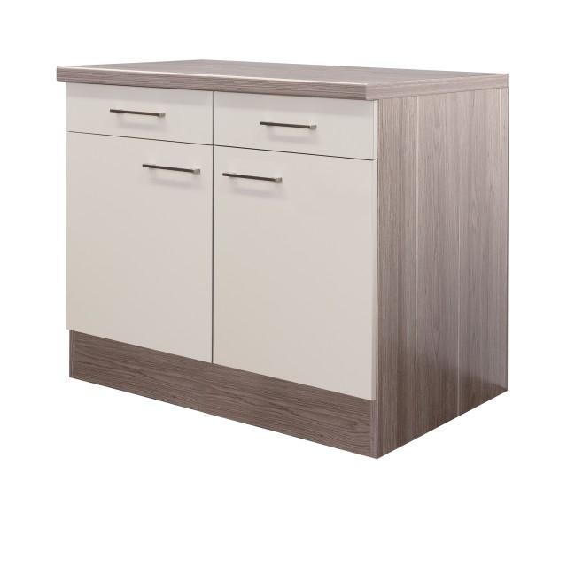 Küchen-Unterschrank EICO - 2-türig - 100 cm breit - Creme Samtmatt