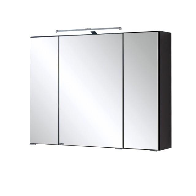 Bad-Spiegelschrank - 3-türig, mit LED-Aufbauleuchte - 80 cm breit -  Graphitgrau