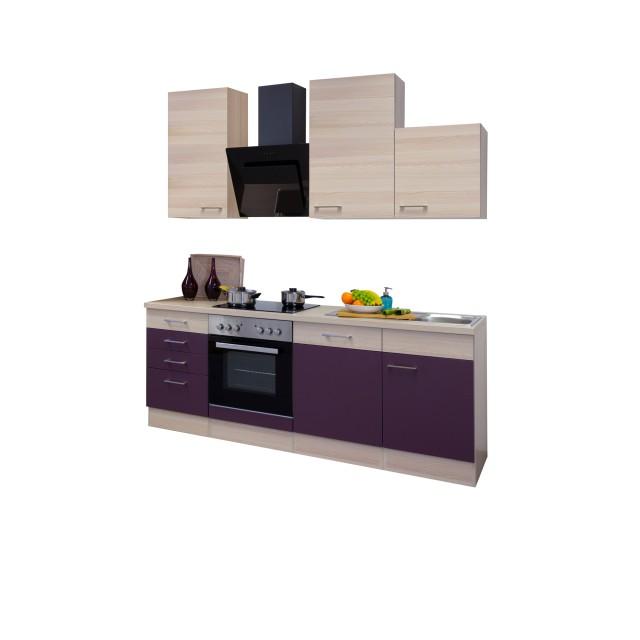 Küchenzeile FOCUS - Küche mit Auszug-Unterschrank - Breite 220 cm ...