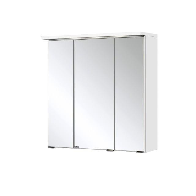 Bad-Spiegelschrank BOLOGNA- 3-türig, mit LED-Lichtleiste - 60 cm breit -  Weiß