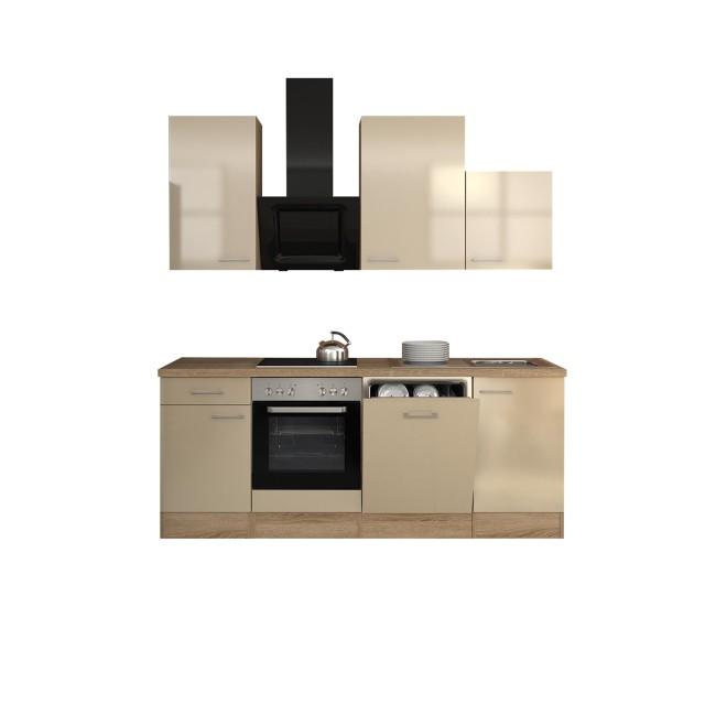 Küchenzeile NEPAL - Küche mit Design-Abzugshaube - Breite 220 cm - Creme