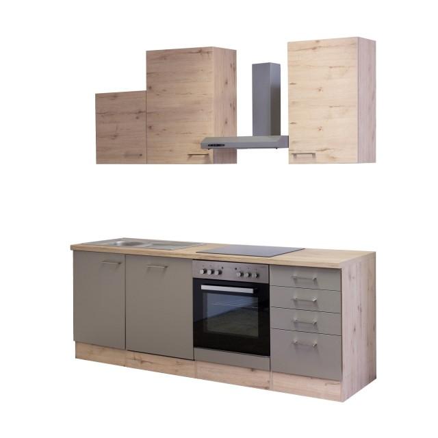 Küchenzeile RIVA - Küche mit E-Geräten - 12-teilig - Breite 220 cm ...