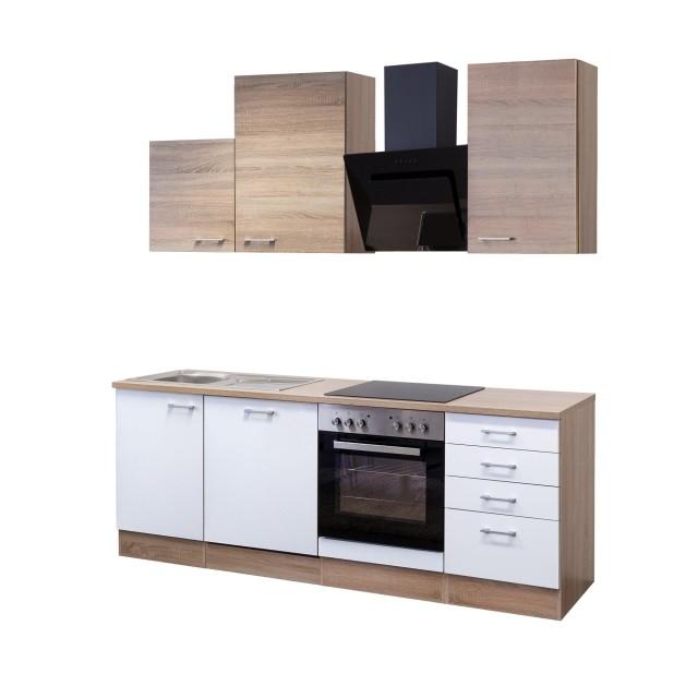 Küchenzeile ROM - Küche mit Auszugs-Unterschrank - Breite 220 cm ...