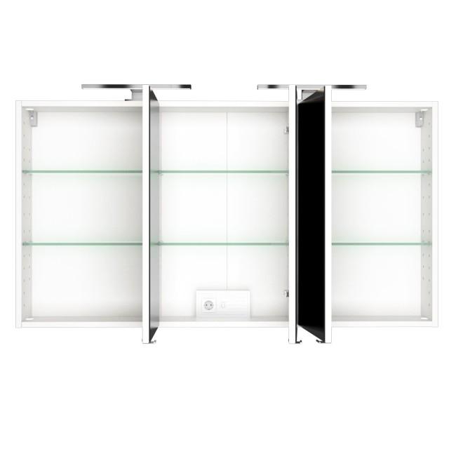 Bad Spiegelschrank Baabe 3 Turig Mit Beleuchtung 120 Cm Breit Weiss Matt