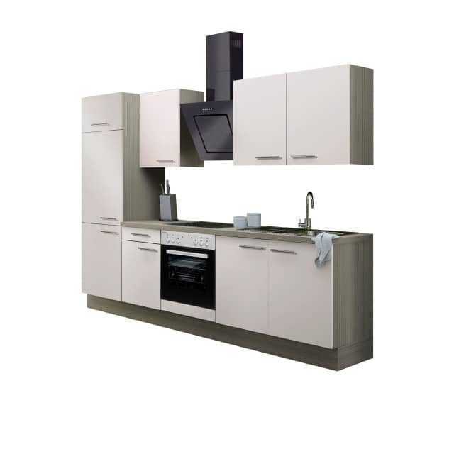 Küchenzeile CADIZ - Vario 2.2 - Küche mit E-Geräten - Breite 270 cm - Beige