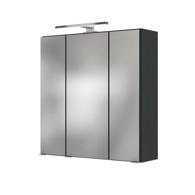 Bad-Spiegelschrank BAABE - 3-türig, mit Beleuchtung - 60 cm breit - Grau  Matt