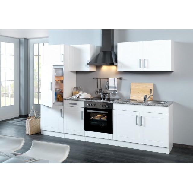 Küchenzeile VAREL - Küche mit E-Geräten - Breite 270 cm - Hochglanz Weiß