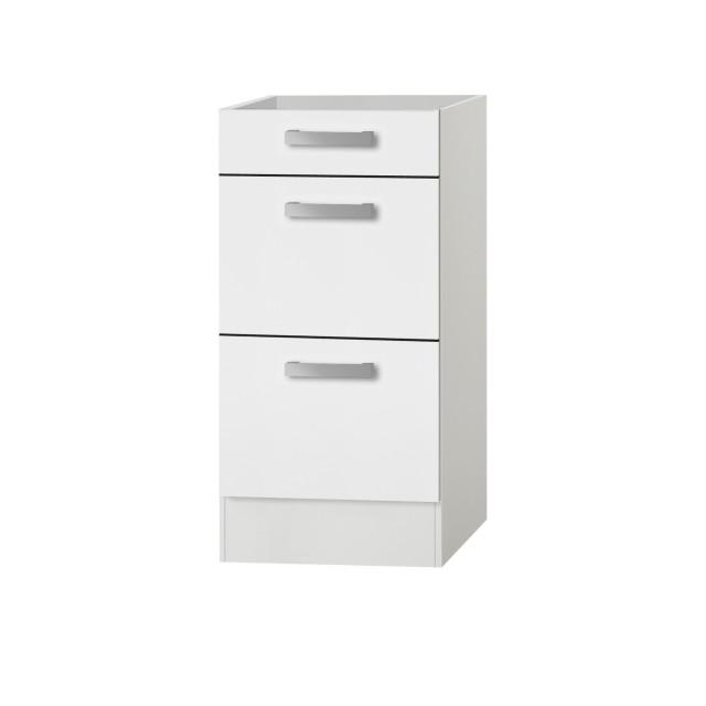Küchen-Unterschrank BARCELONA - ohne Arbeitsplatte - 10 Schubladen - 10 cm -  Weiß