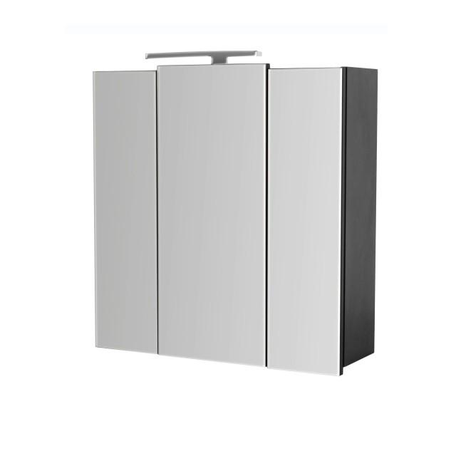 Bad-Spiegelschrank HOMELINE - mit LED-Lampe - 68 cm breit - Grau glänzend