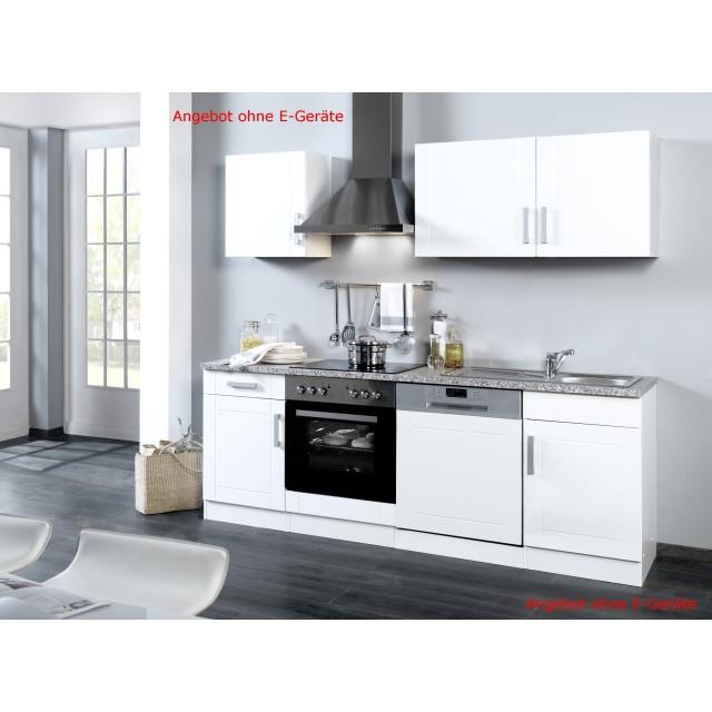 Küchenzeile VAREL - Küchen Leerblock - Breite 220 cm - Hochglanz Weiß