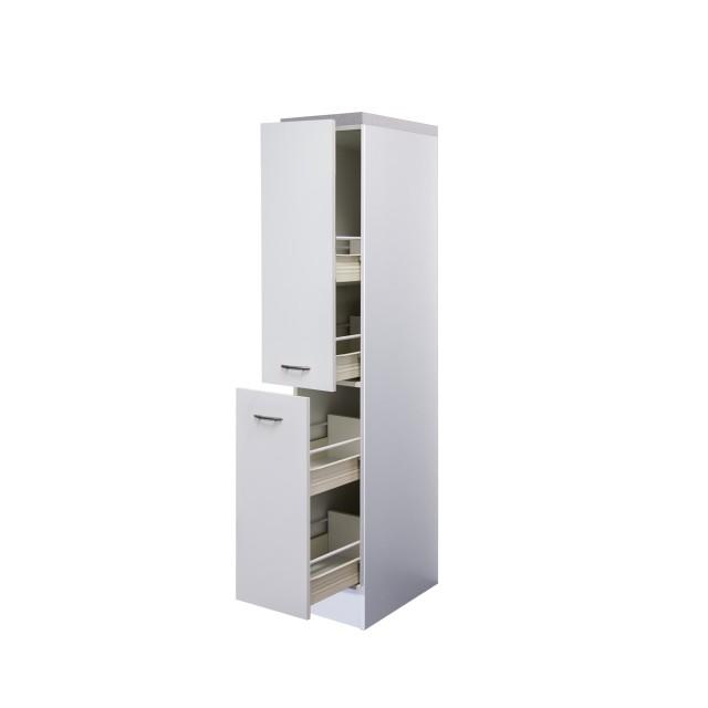 Midi Apothekerschrank Küche Unna 2 Front Auszüge 4 Körbe Weiß