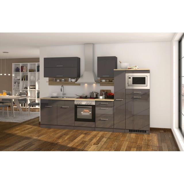 Küchenzeile München Vario 1 Küche Mit E Geräten Breite 300 Cm Hochglanz Grau Graphit