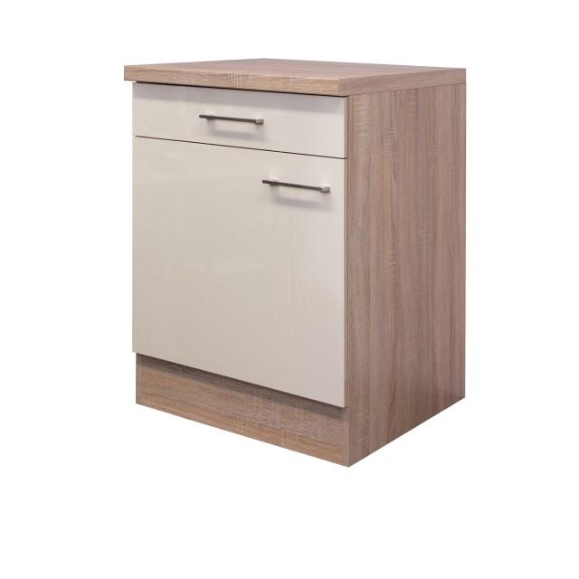 Küchen-Unterschrank NEPAL - 1-türig - 60 cm breit - Creme glänzend