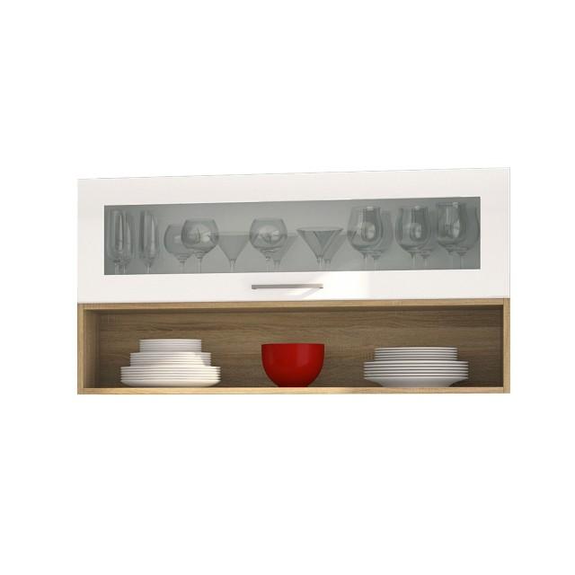 Hängeschrank MÜNCHEN - 1 Glasklappe, 1 Regal - 110 cm breit ...