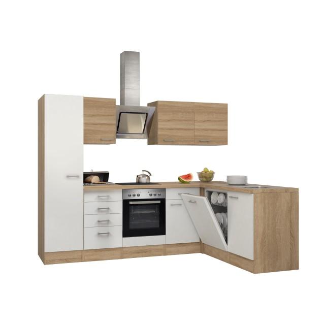 Eckküche ROM - Küche mit E-Geräten - Breite 270 x 170 cm - Weiß ...