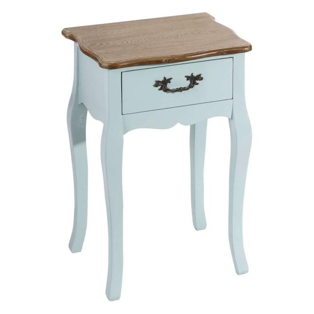 Petite Table De Chevet Bleue Romantique Cecile