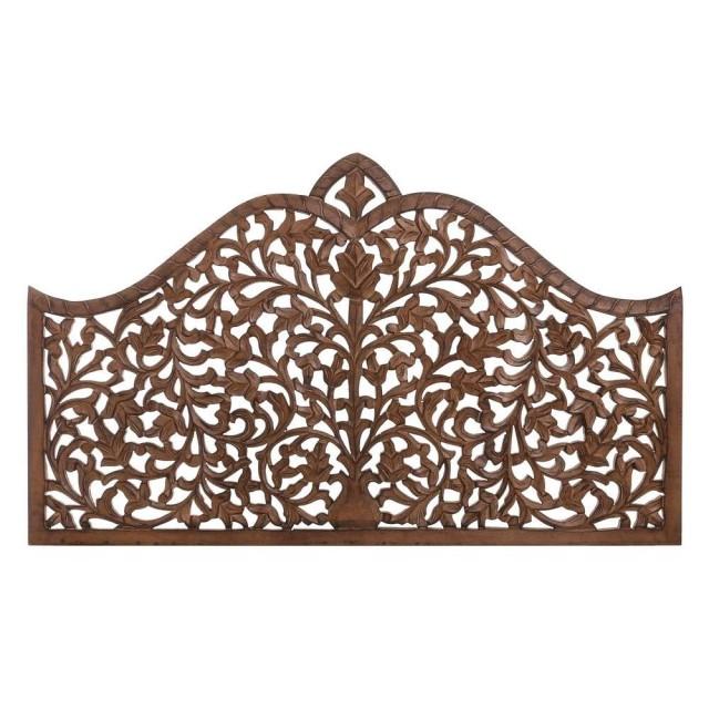 Tete De Lit Orientale tête de lit orientale bois naturel sculpté lit de 140 cm - le